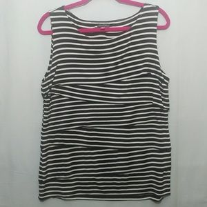 Black & White Striped Sleeveless Vince Camuto Top